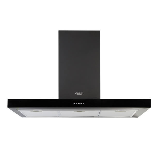 1000mm Cooker Hood 3-Speeds 2 x Hob Lights Black