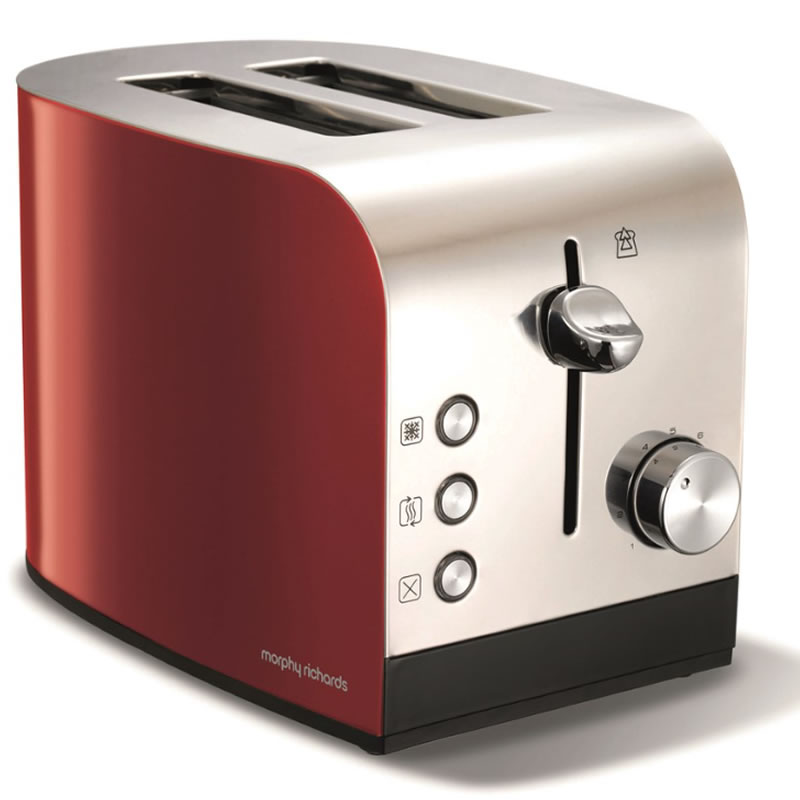 Image of 2-Slice 2-Slot Toaster Hi-Lift Stainless Steel & Red