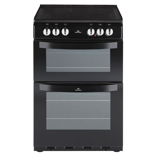 550mm Twin Cavity Electric Cooker Ceramic Hob Black
