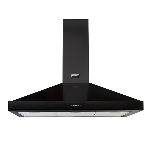 900mm Chimney Cooker Hood 3-Speed Fan Black