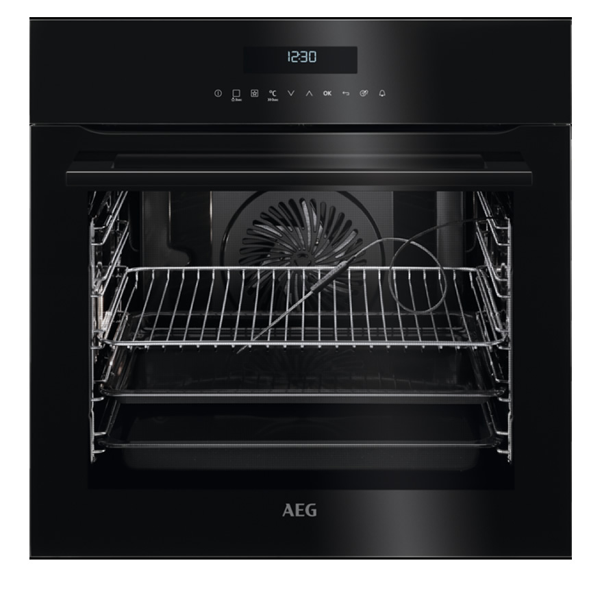 600mm Built-In Single Electric Fanned Oven Black
