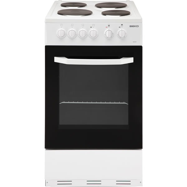 500mm Single Electric Cooker & Grill Sealed Hob White