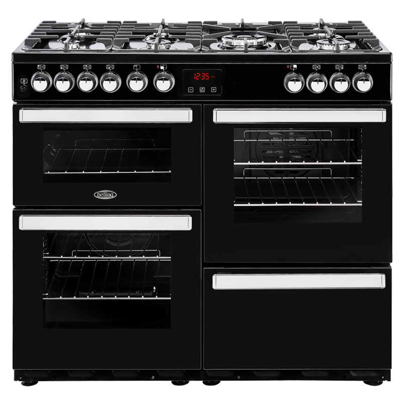 1000mm Dual Fuel Range Cooker 7 Burners Inc WOK Black