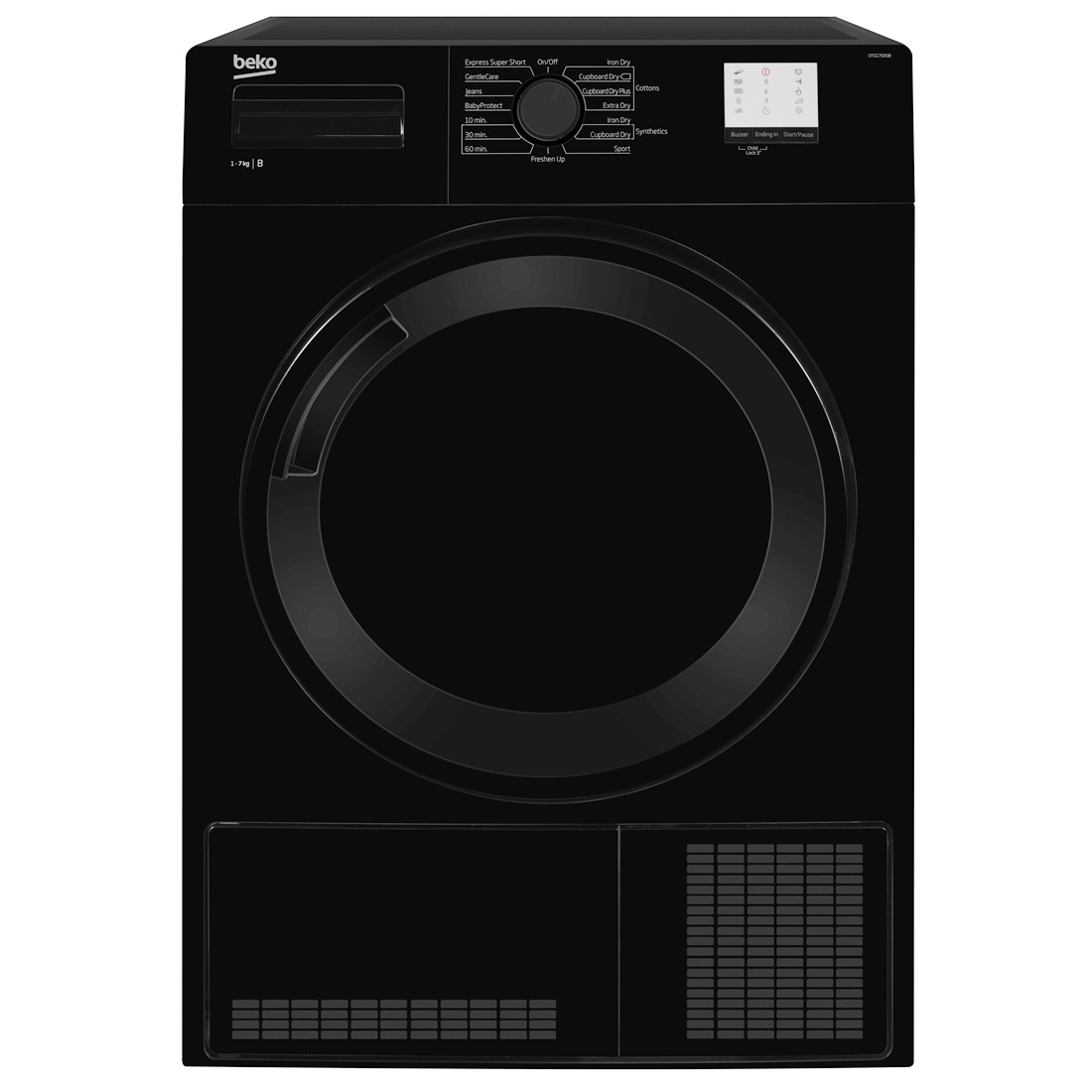 Image of 7kg Load Condenser Tumble Dryer 15 Programmes Black