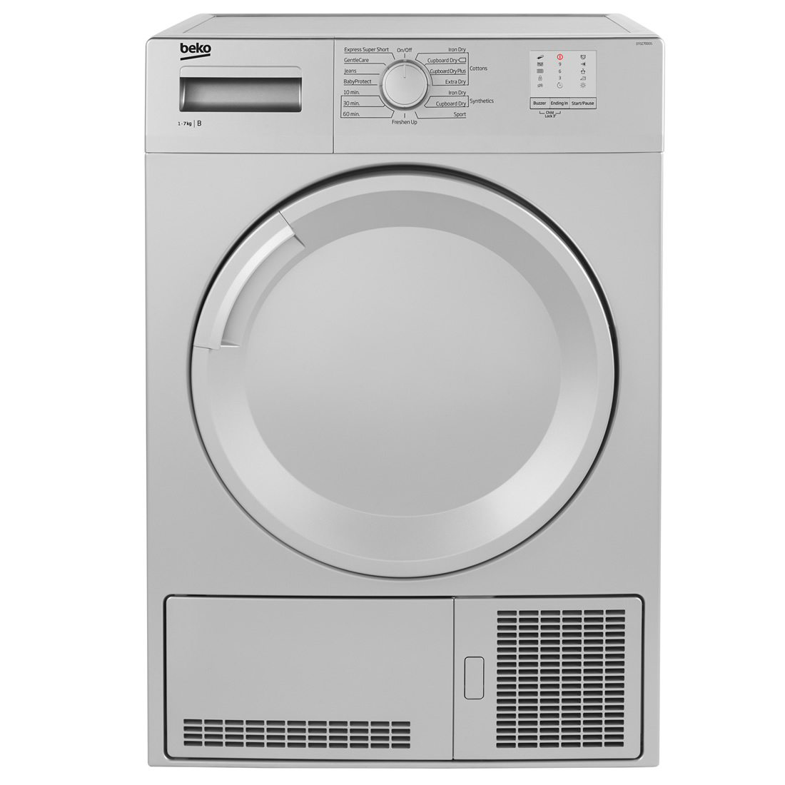 7kg Load Condenser Tumble Dryer 15 Programmes Silver