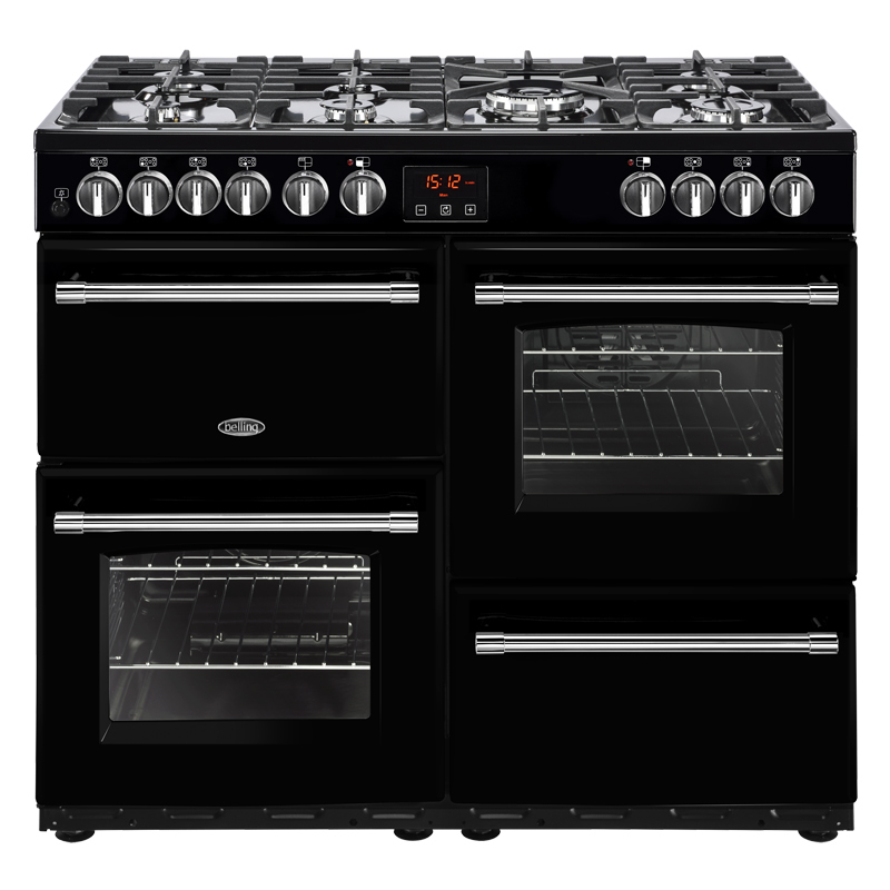 Image of 1000mm Dual Fuel Range Cooker 7 Burners Inc. WOK Black