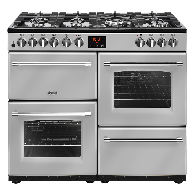1000mm Dual Fuel Range Cooker 7 Burners Inc. WOK Silver