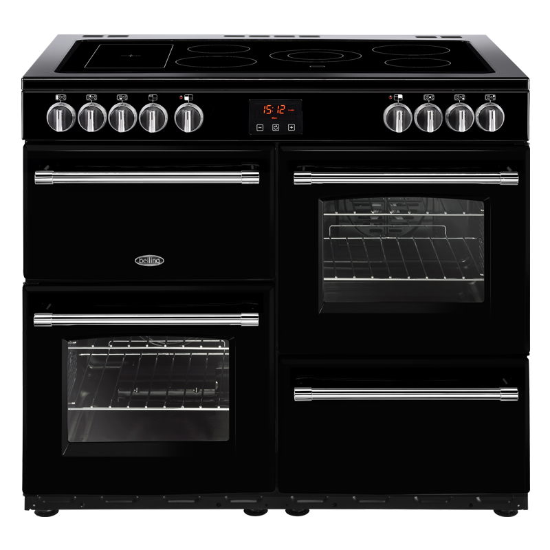 1000mm Electric Range Cooker 5-Zone Ceramic Hob Black