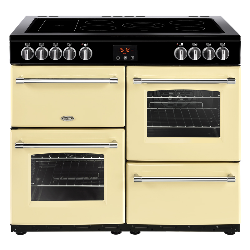 1000mm Electric Range Cooker 5-Zone Ceramic Hob Cream