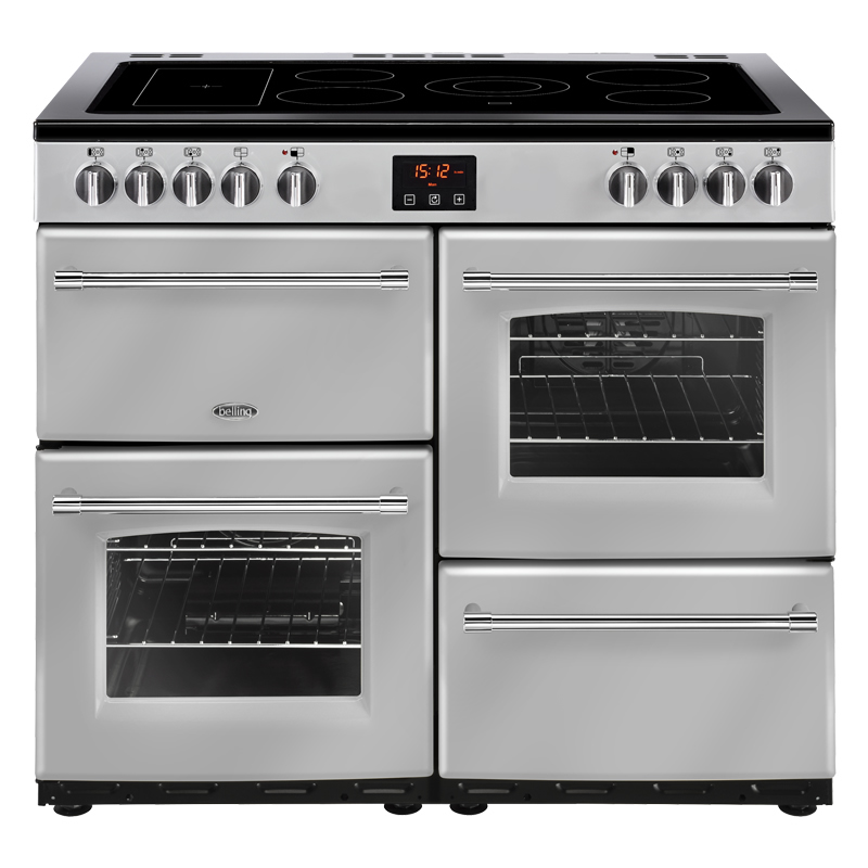 1000mm Electric Range Cooker 5-Zone Ceramic Hob Silver
