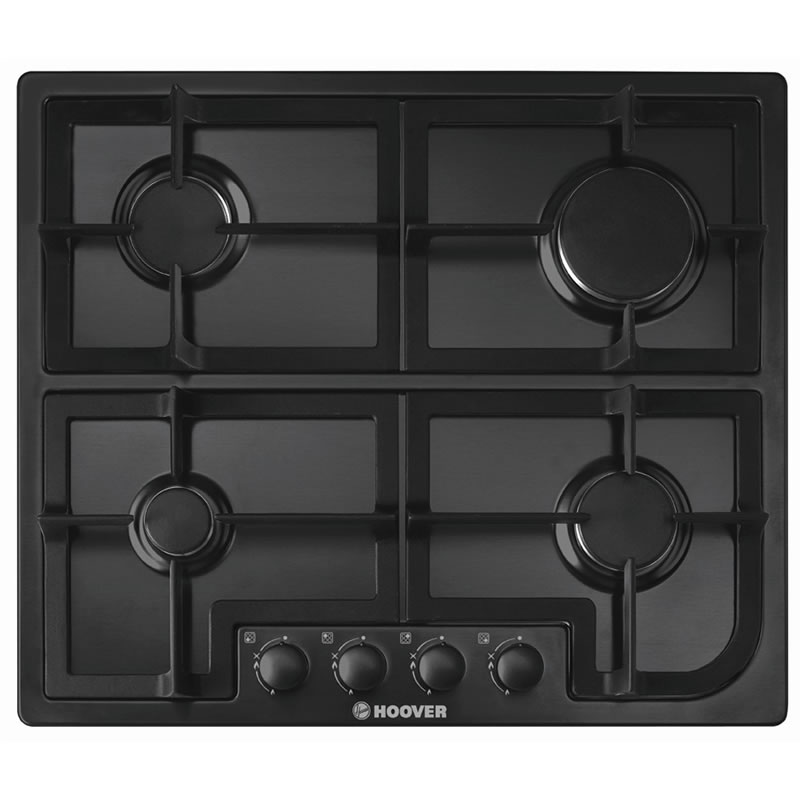 600mm 4 Burner Gas Hob Cast Iron Pan Supports Black