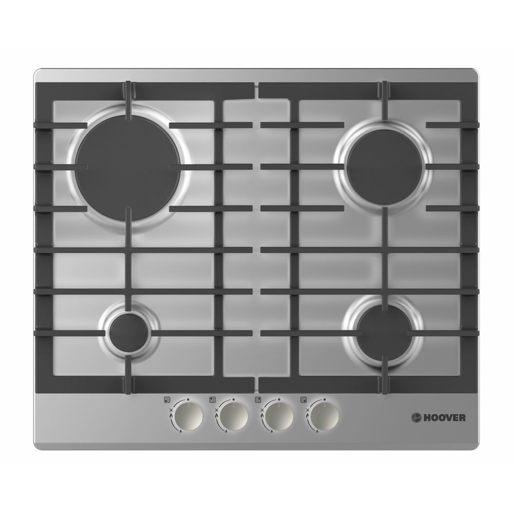 Image of 600mm 4 Burner Gas Hob Cast Iron Pan Supports Inox
