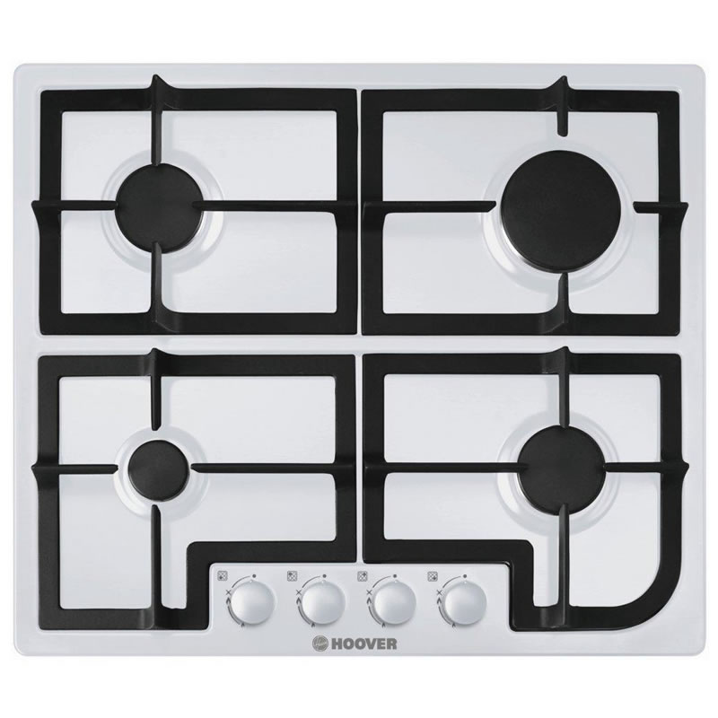 600mm 4 Burner Gas Hob Cast Iron Pan Supports White