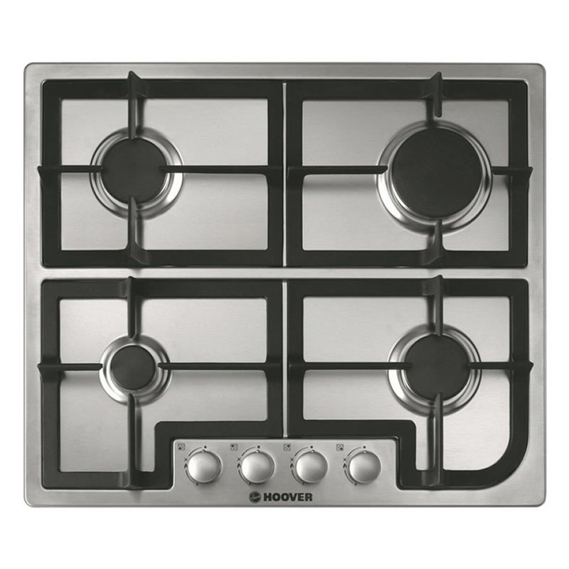 600mm 4 Burner Gas Hob Cast Iron Pan Supports S/Steel