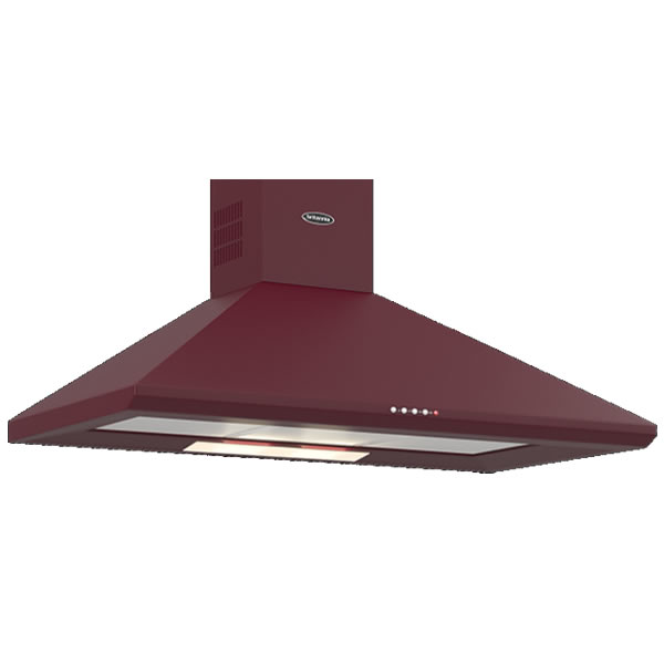 Image of 1000mm Wall Mount Cooker Hood 3-Speed Fan Burgundy