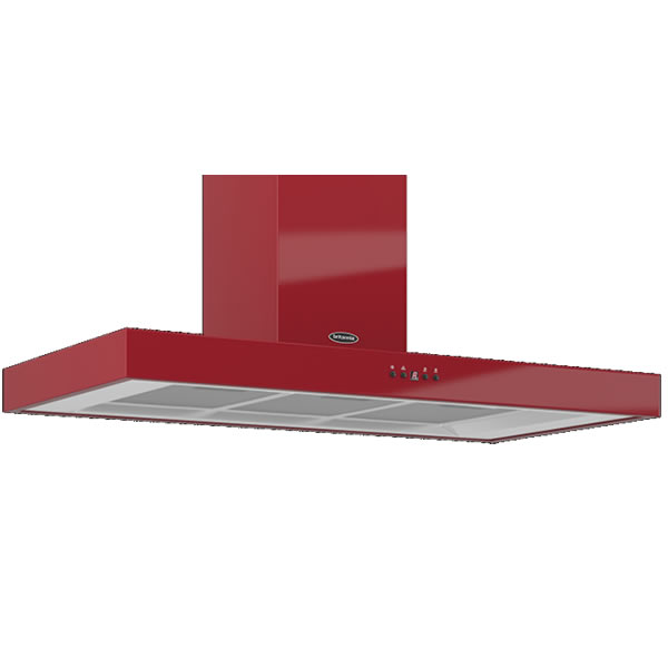 Image of 1000mm Wall Mount Cooker Hood 3-Speed Fan Red