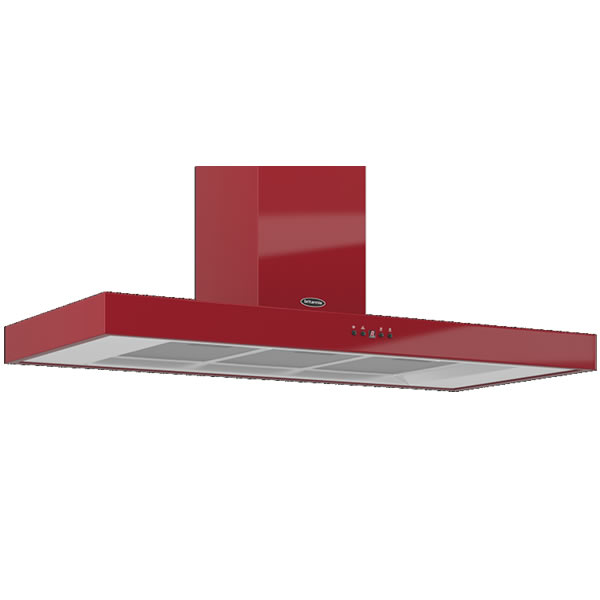 Image of 1100mm Wall Mount Cooker Hood 3-Speed Fan Red