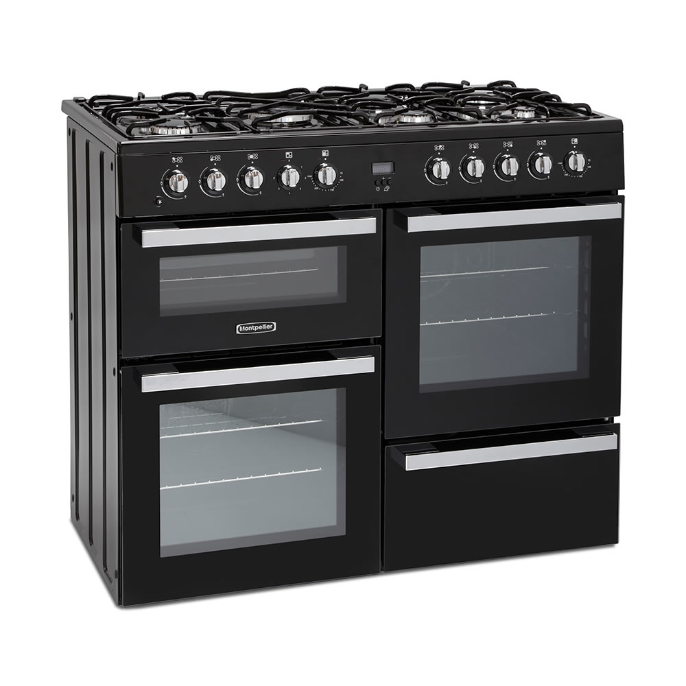 1000mm Dual Fuel Range Cooker 7 x Burners Black