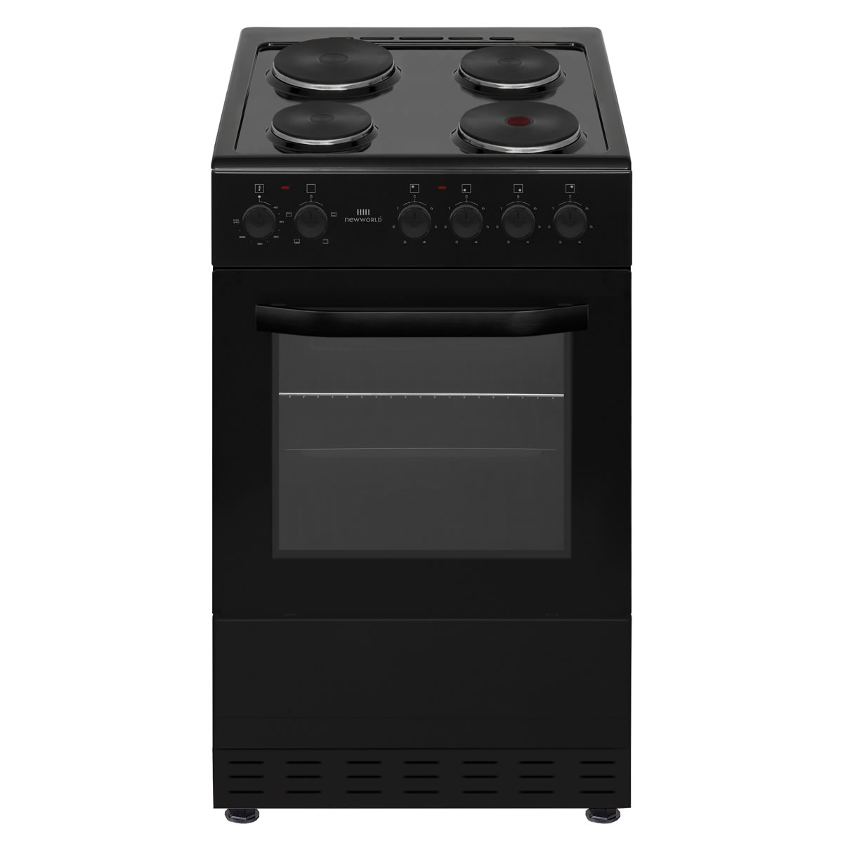 NWMID50EB 500mm Single Electric Cooker Solid Plate Hob Black