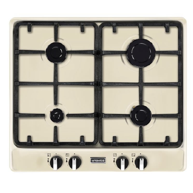 600mm Gas Hob 4 x Burners Cast Iron Pan Supports Cream