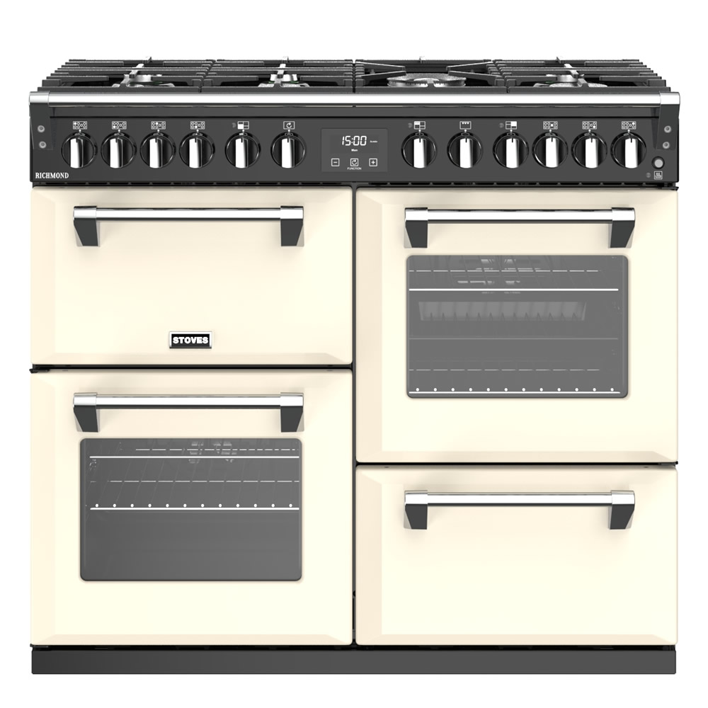 1000mm Dual Fuel Range Cooker 7 x Burners Cream
