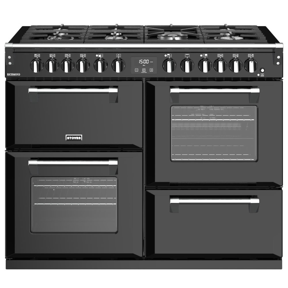 1100mm Dual Fuel Range Cooker 7 x Burners Black