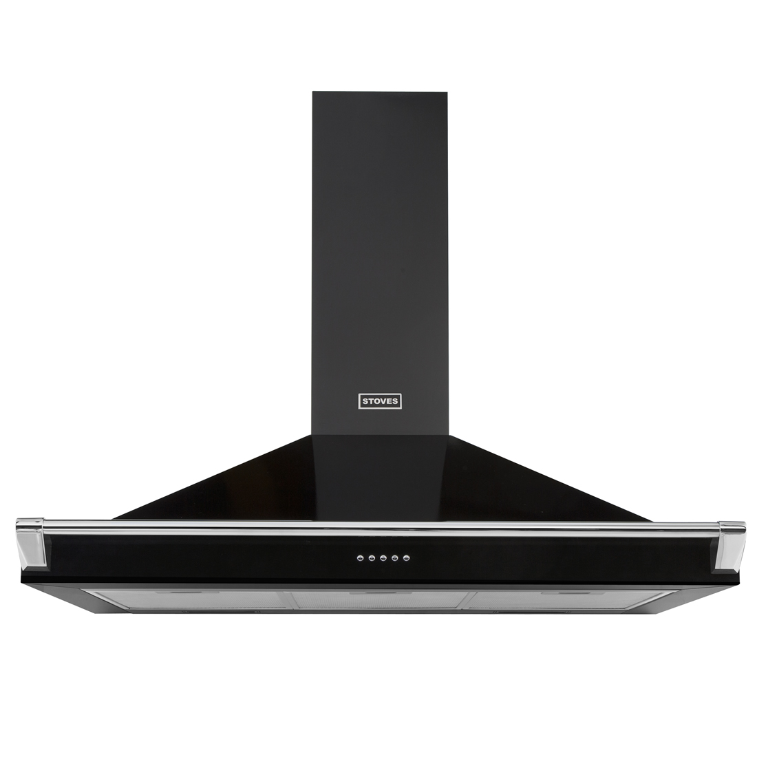 Image of 1000mm Chimney Cooker Hood with Rail 3-Speed Fan Black