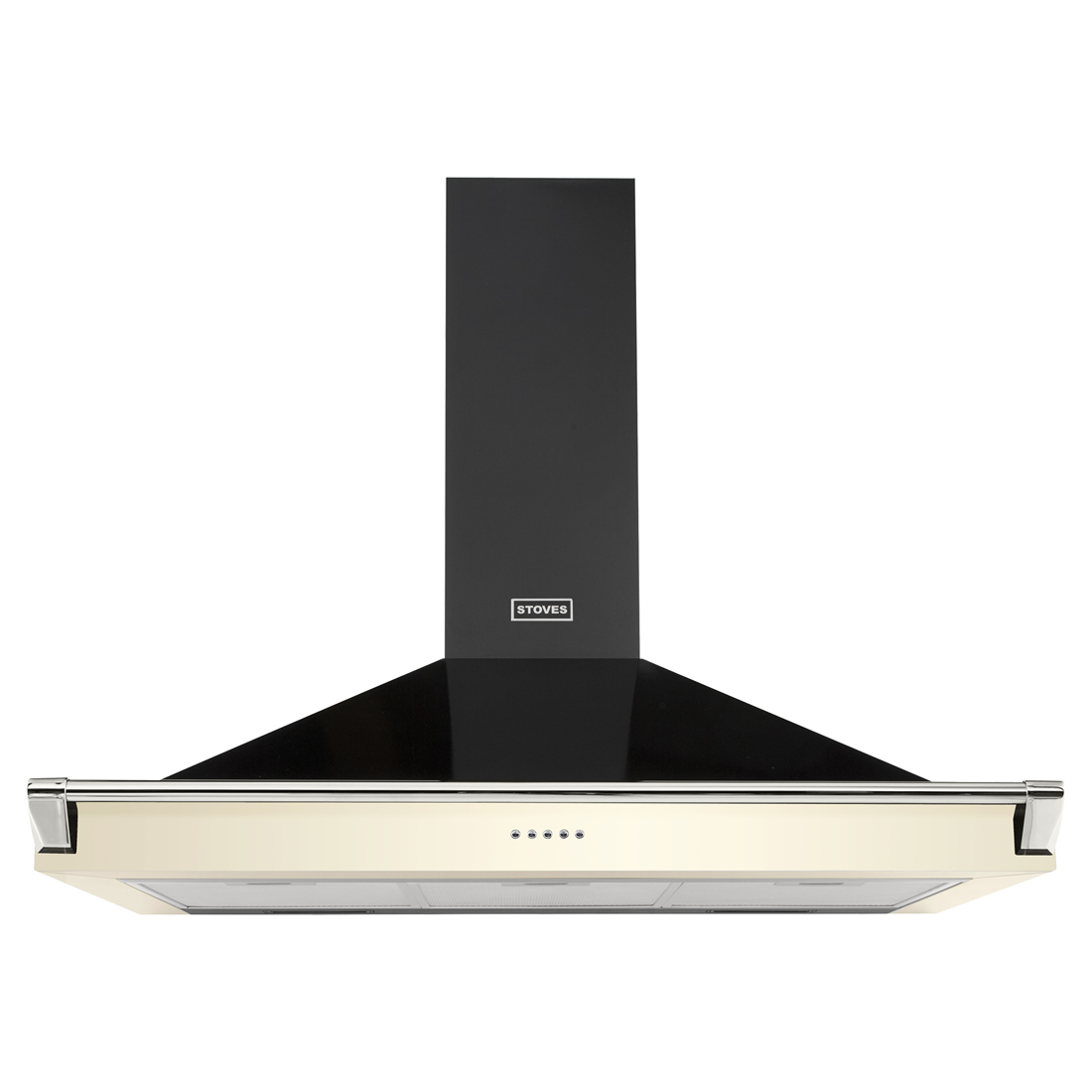 Image of 1000mm Chimney Cooker Hood with Rail 3-Speed Fan Cream