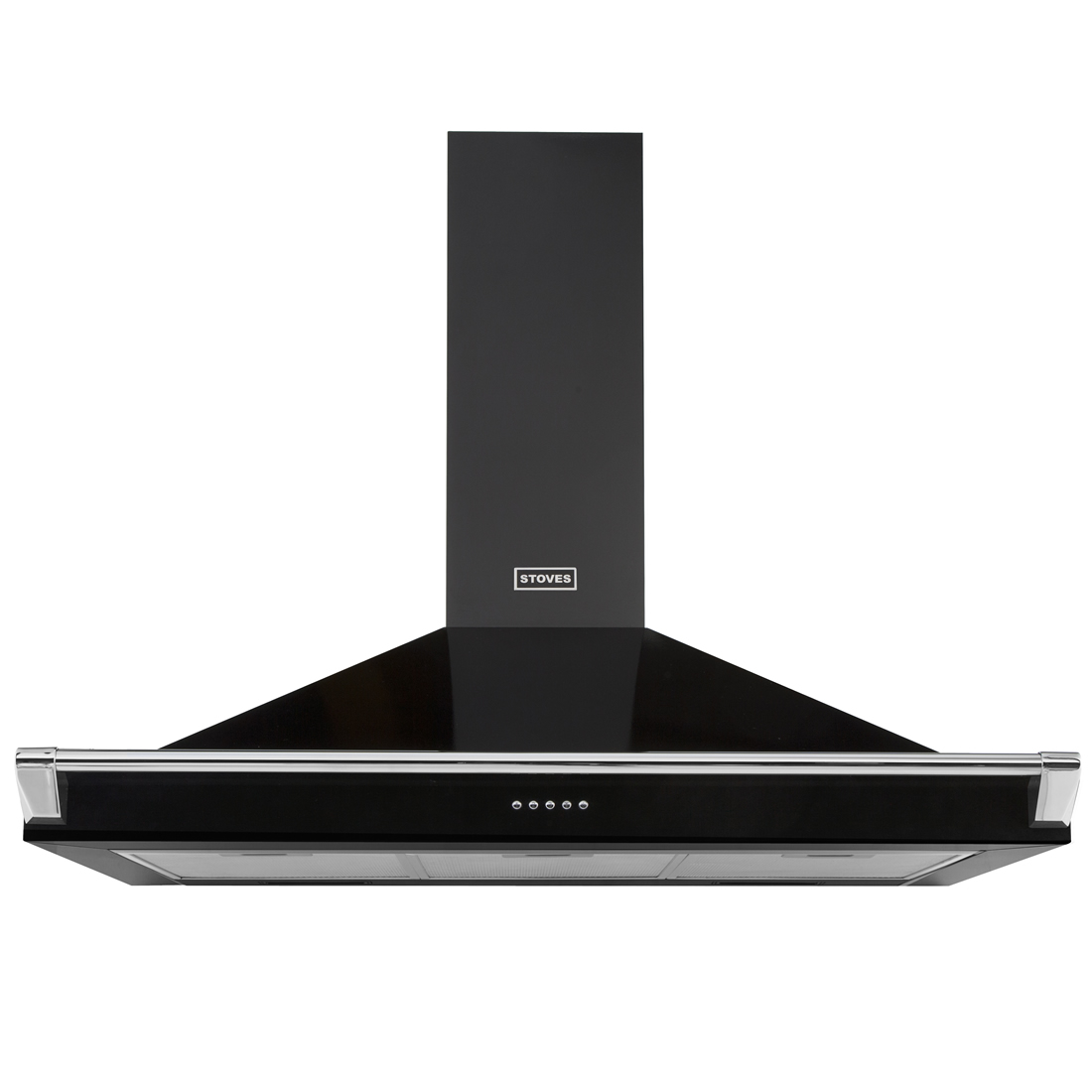 1100mm Chimney Cooker Hood with Rail 3-Speed Fan Black