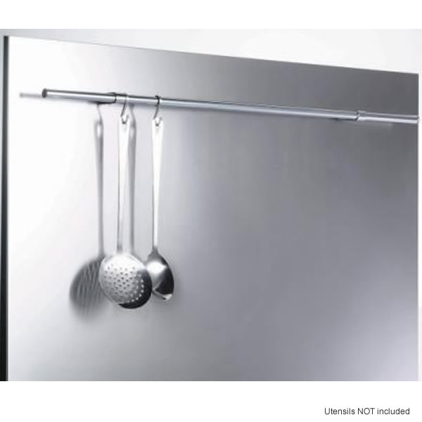 Image of 600mm Splashback with Rail Stainless Steel