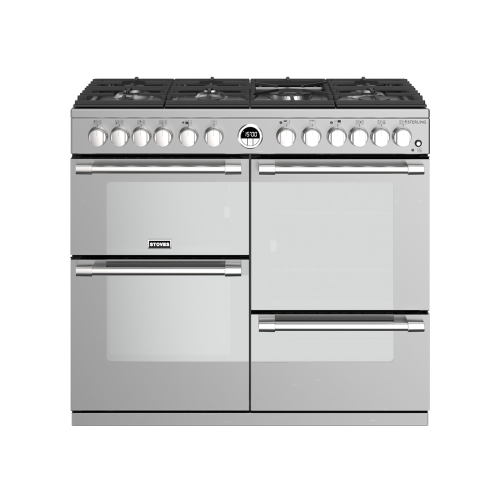 1000mm Dual Fuel Range Cooker 7 x Burners S/Steel