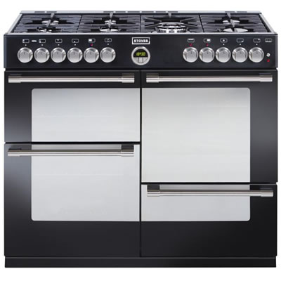 1000mm Dual Fuel Range Cooker 7 x Burners WOK Black