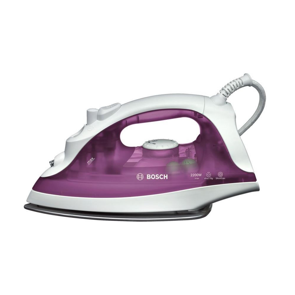 Image of 2200Watts Steam Iron Shot of Steam White/Deep Berry