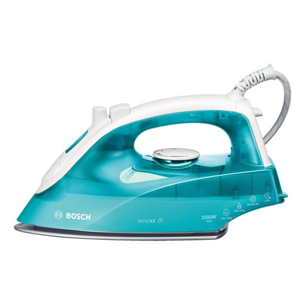 Image of 2200Watts Steam Iron Shot of Steam White/Turquoise