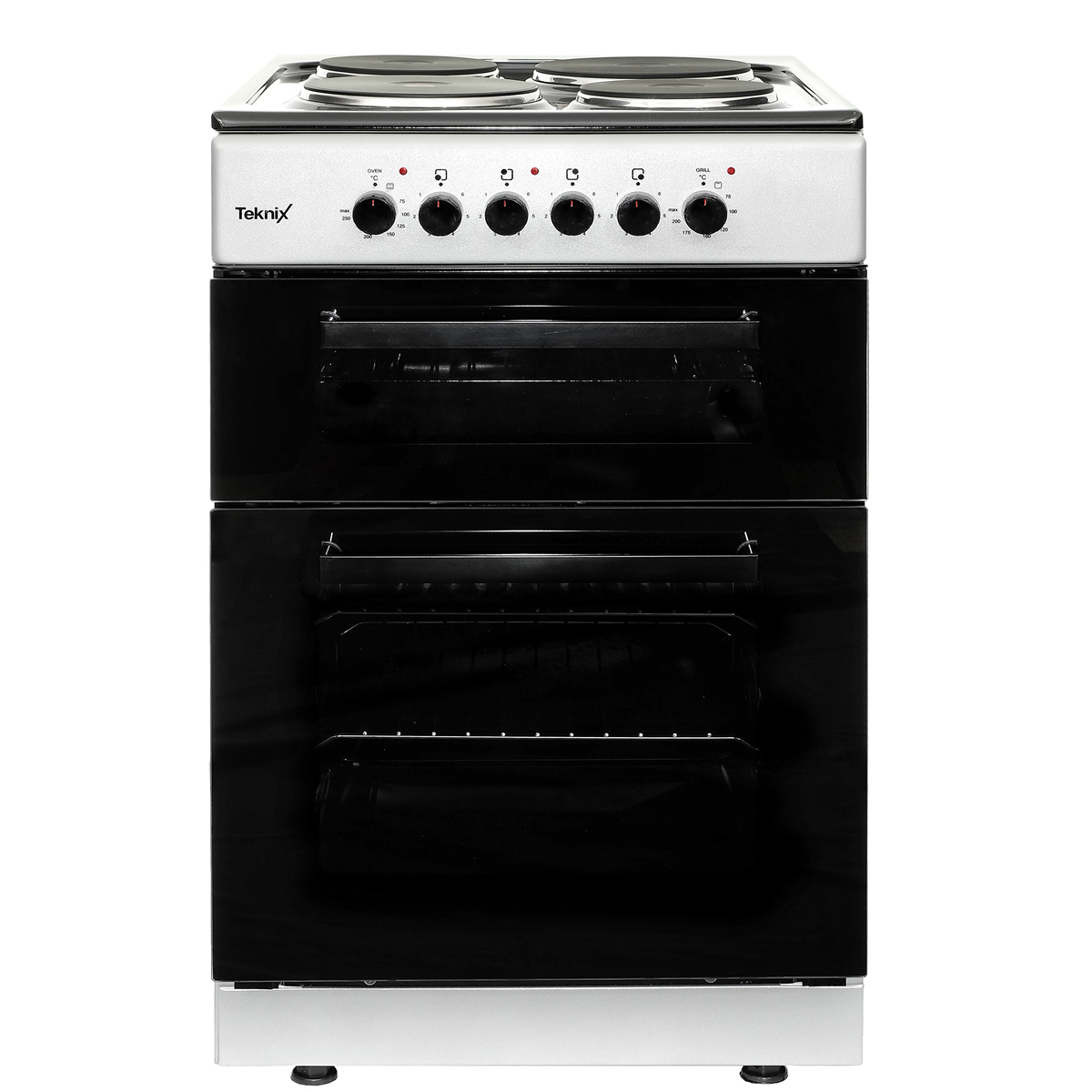 TK60TES 600mm Electric Oven Twin Cavity 4 x Solid Hot Plates