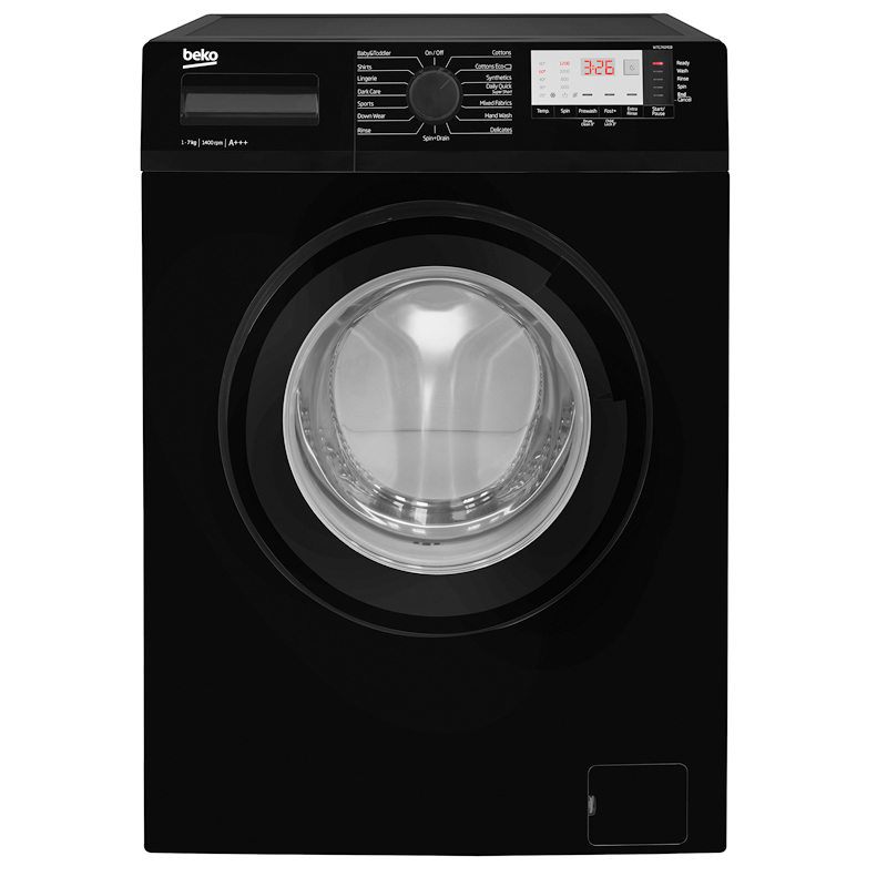 1400rpm Washing Machine 7kg Load Class A+++ Black