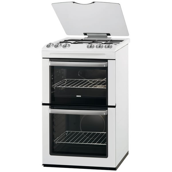 550mm Double Oven Gas Cooker + Grill White