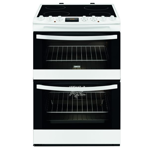 600mm Double Electric Cooker Ceramic Hob White