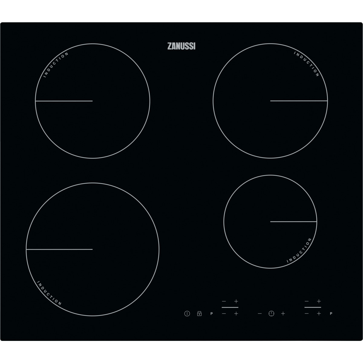 600mm Induction Hob 3 Zones Touch Control Black