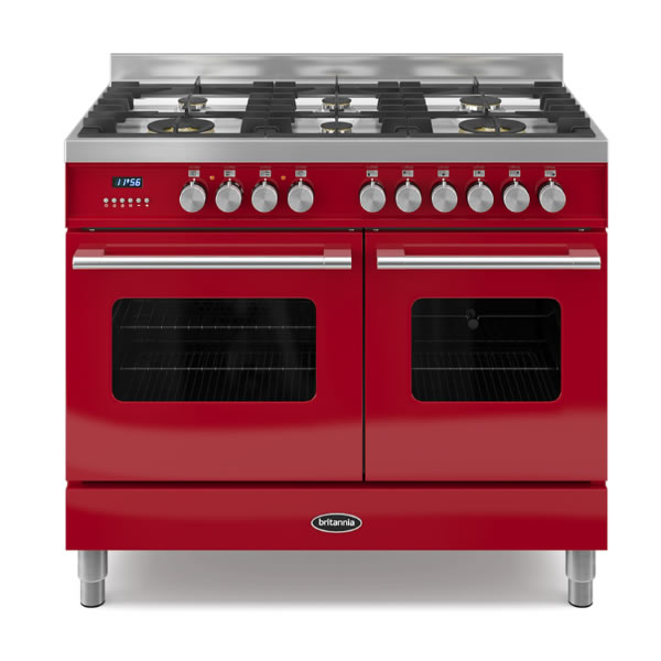 1000mm Twin Dual Fuel Range Cooker Gas Hob Red