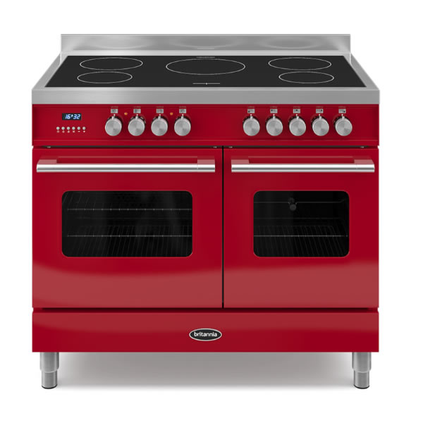 1000mm Twin Electric Range Cooker Induction Hob Red