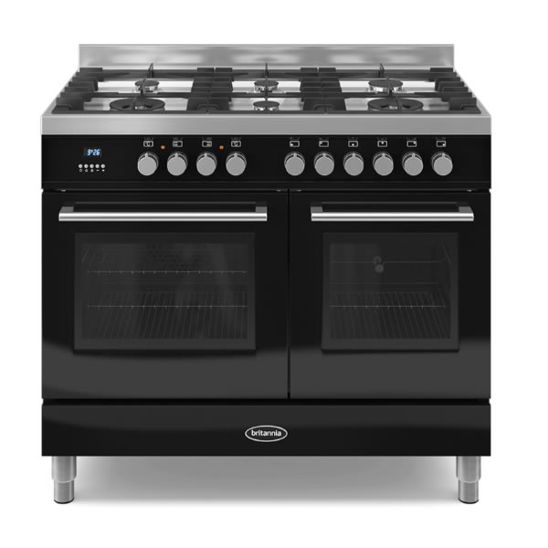 1000mm Dual Fuel Range Cooker Gas Hob Black