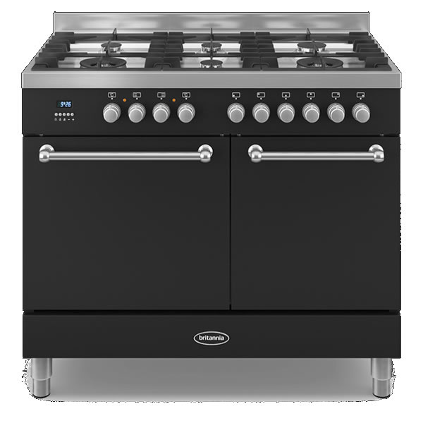 Compare retail prices of 1000mm Twin Dual Fuel Range Cooker Gas Hob Black to get the best deal online